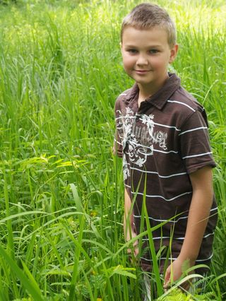 Collin in grass